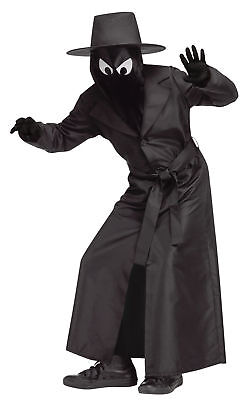 Spy Guy Child Shadows Black Costume Overcoat With Belt Halloween - Black Spy Kostüm