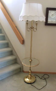 Vintage Floor lamp with table  brass and glass huge silk shade