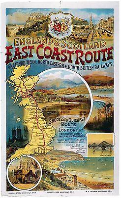 Vintage Rail travel railway poster  A4 RE PRINT  East Coast Route