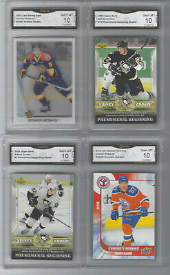 CONNOR MCDAVID & SIDNEY CROSBY UD, LEAF 4 CARD ROOKIE LOT GRADED GEM MINT 10