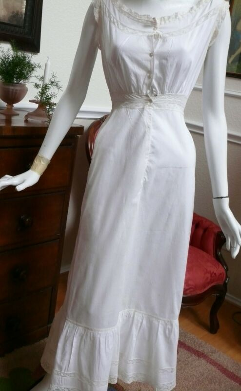 1905 Edwardian White Cotton long Slip with Lace Adornments XS