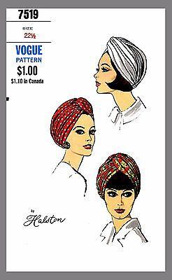Vintage Vogue Designer Halston Millinery Hat Turban Fabric sewing pattern # 7519