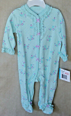 LITTLE ME 100% Cotton Mint ROSE FLORAL SPRAY Footies SIZE 6 MO NWT