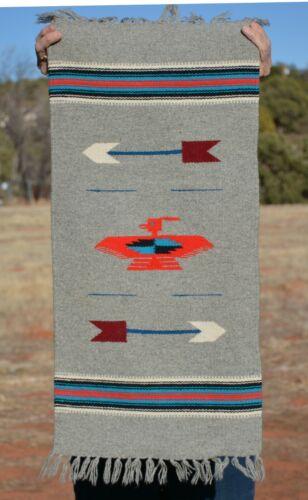 Vintage Chimayo Handwoven Throw Rug  - Grey w. Red Eagle & Arrows - 34 x 14