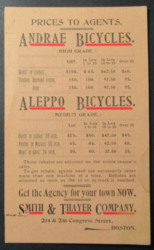 Andrae Bicycles Aleppo Bicycles Vintage Price List for Agents