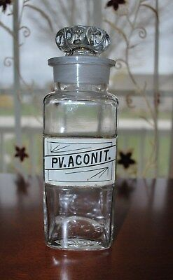 Used, ANTIQUE PHARMACY MEDICINE MEDIUM LABEL UNDER GLASS (LUG) PV.ACONIT. for sale  Glenbeulah
