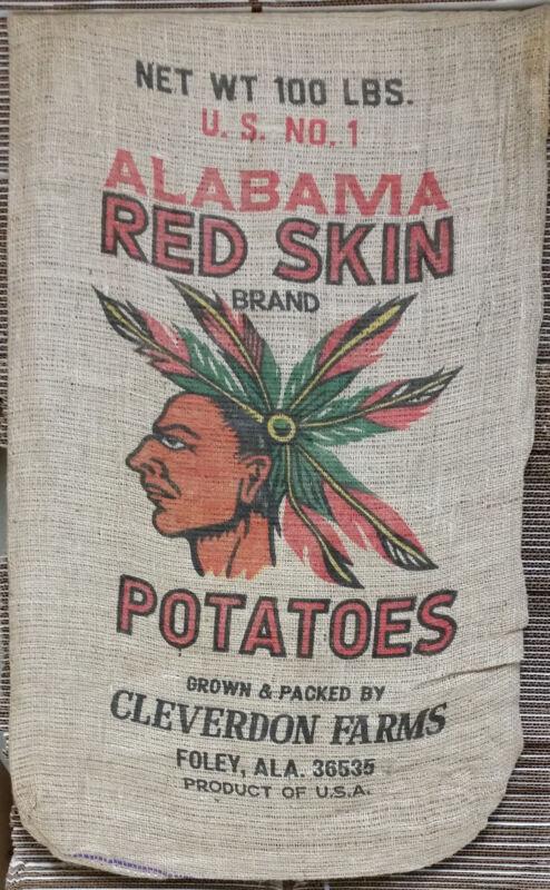 Vintage 100lb Burlap Potato Sack - Original 1930