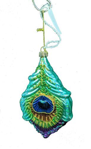 """5"""" Mark Roberts Blue Glittered Peacock Bird Glass Ornament~Reindeer~A5~36-54084"""