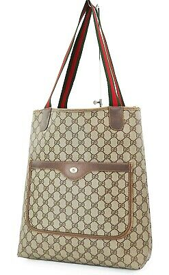 Authentic Vintage GUCCI Brown GG PVC Canvas and Leather Tote Bag Purse #37138