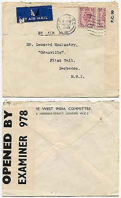 GB to BARBADOS WW2 CENSOR 1943 WEST INDIA COMMITTEE PRINTED ENV...1/- FRANKING