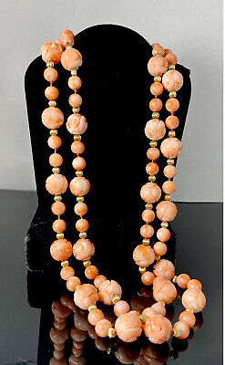 Elegant Art Deco Coral Angel Skin Bright Colored Necklace with Pin and Barrel Clasp