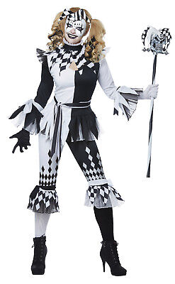 Crazy Jester Clown Adult Women Costume (Clown Costume Womens)