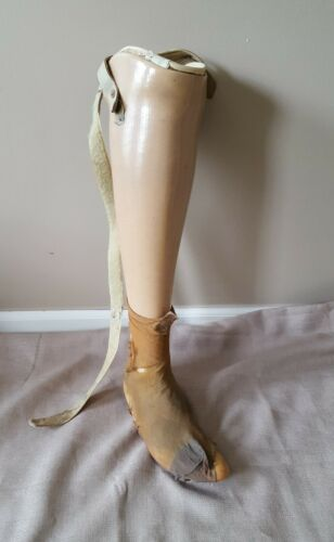 Vintage prosthetic artificial right fake leg