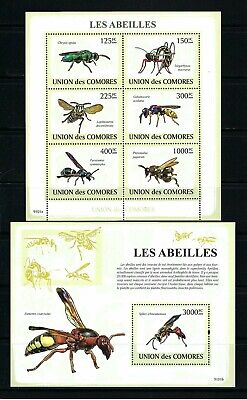 Comoros 2009 Sc#1079-80  Bees & Wasps  MNH Miniature & Souvenir Sheet Set $27.00