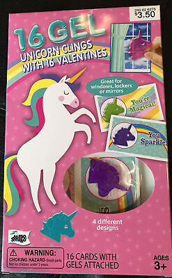 Mello Smello 16ct Gel Unicorn Clings with Valentines