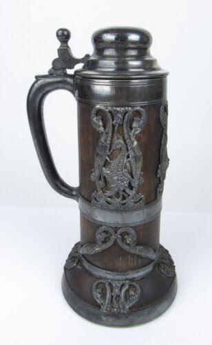 St. Louis Silver Co. Tankard Stein Dragon Serpents Oak Wood Silver Plated Lidded