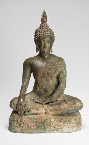 "Antique Sukhothai Style Seated Bronze Thai Enlightenment Buddha Statue -50cm/20"""