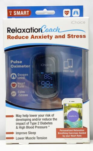 iChoice Smart Pulse Oximeter Relaxation Coach Bluetooth Heart Rate Oxygen Sealed