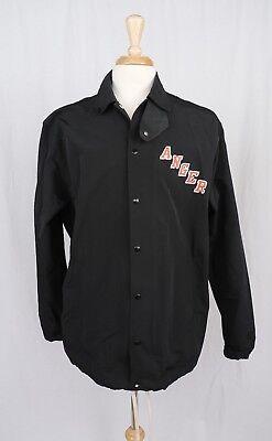 Mr. Completely Mens Black Varsity Anger Shirt Jacket L Large
