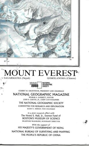 Vintage National Geographic Map of Mount Everest, Nepal and China (1988)