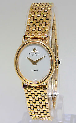 Baume & Mercier Dress 18k Yellow Gold White Dial Ladies Quartz 48232