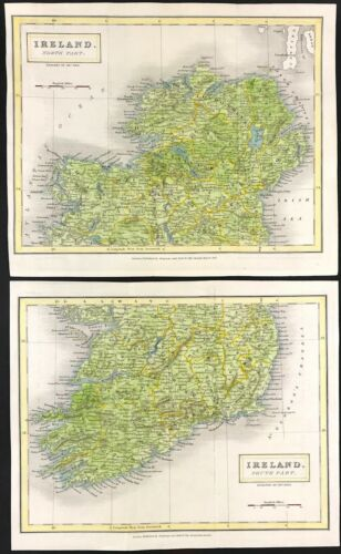 Map of IRELAND by Sidney Hall 1830 Original engraved with hand colour