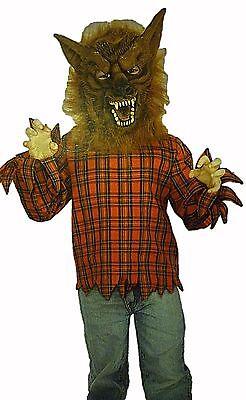 Boys Werewolf Mask (Boys Size Large Werewolf Halloween Costume NEW Red Shirt & Mask Scary Monster)