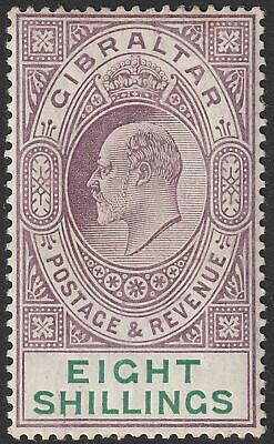 Gibraltar 1911 KEVII 8sh Purple and Green Mint SG74 cat £275
