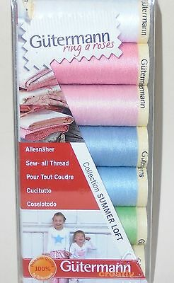 GUTERMANN 'SEW ALL THREAD SET/PACK  'SUMMER LOFT' COLLECTION - 7 PASTEL SHADES
