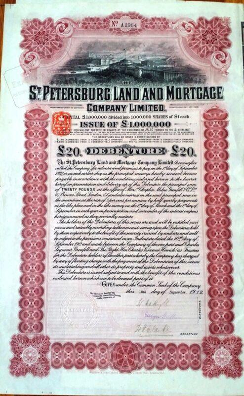 RUSSIA ST. PETERSBURG LAND & MORTGAGE CO. Ltd. 5% DEBENTURE FOR £20 1912