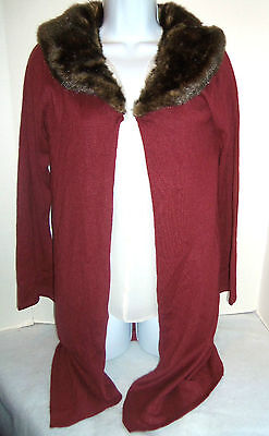 ANNE BOWEN AMERICAN CLASSICS LONG SILK CASHMERE DETACH FUR COLLAR SWEATER SMALL