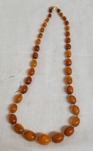 Antique Vintage 14kt Gold Hallmarked Butterscotch Baltic Amber Necklace
