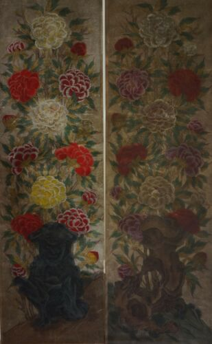 Very Fine Korean 18~19th Century MinHwa 2 Panel Morando Set on Jangji Paper