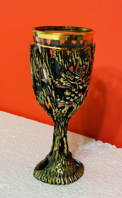 VTG JUDAICA BRUTALIST BRASS & GLASS KIDDUSH CUP MADE IN ISRAEL Never Used