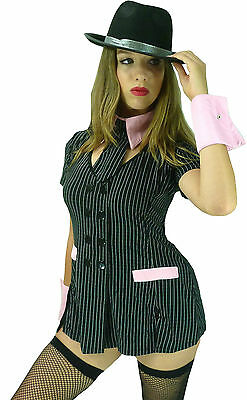 1920s Chicago Gangster Gangsters Moll Girl Fancy Dress Costume + Hat - M - Gangster Moll Hat