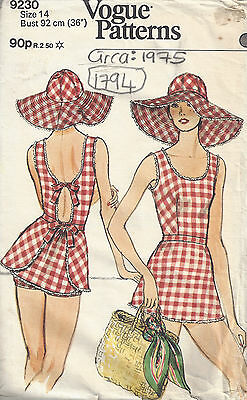 1975 Vintage VOGUE Sewing Pattern B36 SWIMSUIT with BRIEFS and HAT (1794)