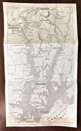 Original 1868 Civil War Vellum Map ~ YORKTOWN, VA ~ w/ RIVERS ~ Extremely Rare
