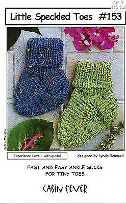 Easy Sock Knitting Patterns - Little Speckled Toes Cabin Fever Knitting Pattern #153 Socks NB-2yr - Easy Knit!