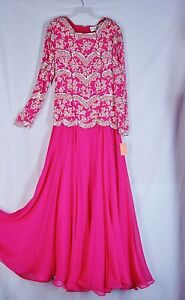 New $780 Size 6 OLEG CASSINI Dress BLACK TIE  Formal Fuchsia Beads BEADED Silk