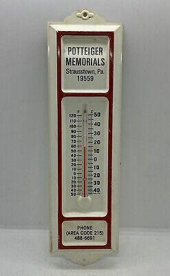 Vintage Potteiger Memorials Strausstown, PA. Advertising Tin Metal Thermometer