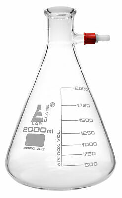 Filtering Flask 2000ml - Conical Integral Screw Thread Side Arm - Eisco Labs