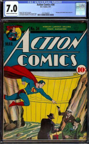 Action Comics #34...CGC 7.0 FVF... Sharp 1941 Superman