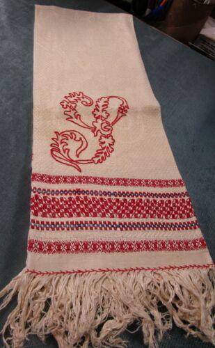 Antique Victorian Linen Damask Fringed Tri-Color Show Towel Large Red Monogram