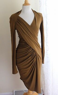 Donna Karan Collection Sz L Body-Con Ruched Sculptural Olive Woven Funky Dress