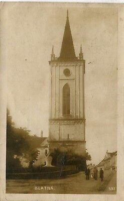 Czech Blatna Blatná - Tower old real photo sepia postcard