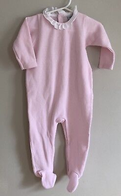Babidu Baby Romper One Piece Pink Ribbed Footed Lace Eyelet Ruffle Size 12m
