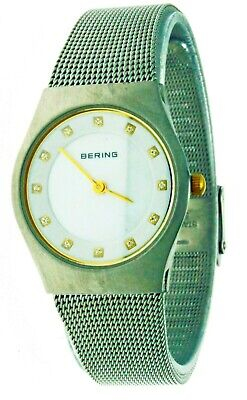 Bering Women's White Dial S.S Mesh Band Sapphire Glass Swarovski Crystals Watch Sapphire Swarovski Crystal Band