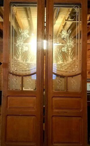 GREAT PR VICTORIAN ART NOUVEAU ETCHED CUT GLASS DOORS