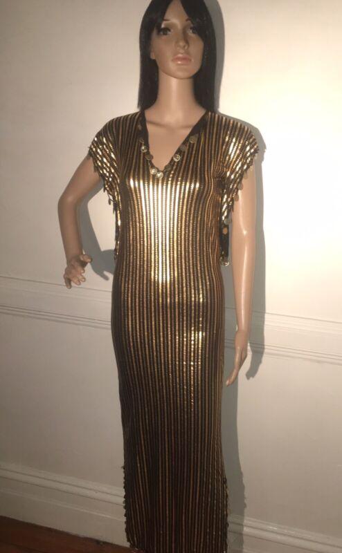 Black/Gold Beledi dress W/ short sleeves / Egyptian Saidi Dress