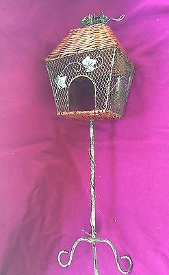 Wicker wooden metal tall bird feeder with stand ivy Grape leaves vintage